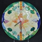 "SEBINO ARTE Round Clock Fused Glass Houses Boats Trees Hand Made 10.25"" New"