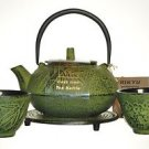 RIKYU Cast Iron Tetsubin Teapot  2 Cups Trivet Set Green Bamboo New