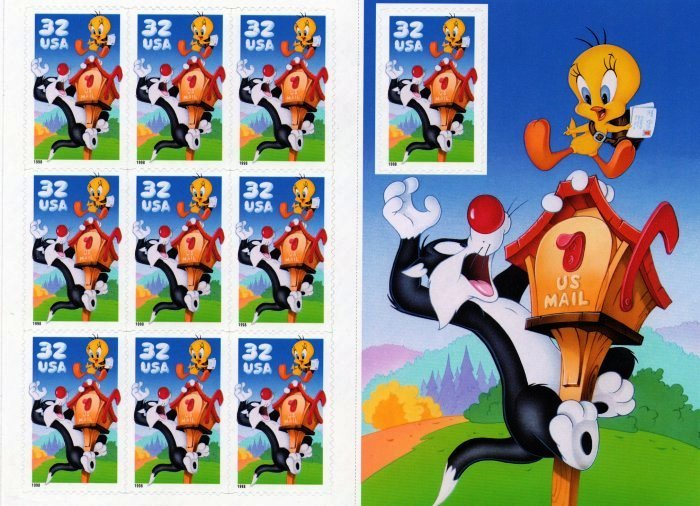 Scott #3204 Sylvester Tweety Looney Tunes Stamps Mint Sheet 10 x 32¢
