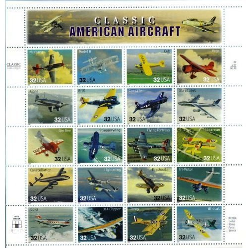 Scott #3142 Classic American Aircraft Pane of 20 x 32¢