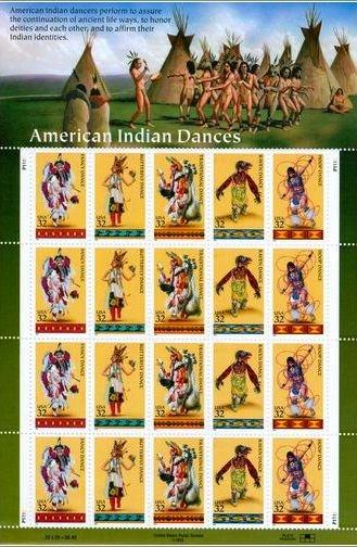 Scott #3072 American Indian Dances sheet 20x 32¢