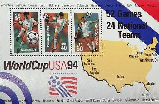 Scott # 2837 WorldCup USA �94 3 of 29¢, 40¢, 50¢