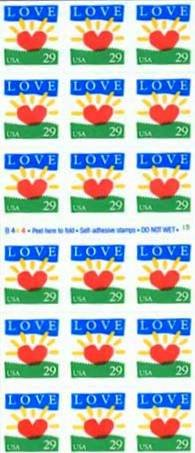 Scott # 2813a 1994 Love stamp booklet pane of 18 x 29¢