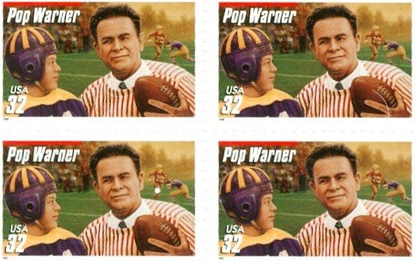 Scott #3144 Pop Warner stamp block of 4 x 32¢