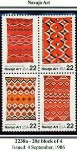 Scott #2238a Navajo Art stamp block of 4 x 22¢