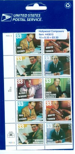Scott #3339-3344 Legends of American Music � Hollywood Composers stamp block of  10 x 33¢