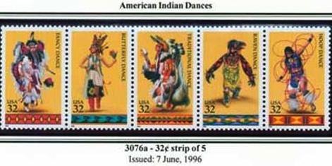 Scott #3076a American Indian Dancers stamp block of 4 x 32¢