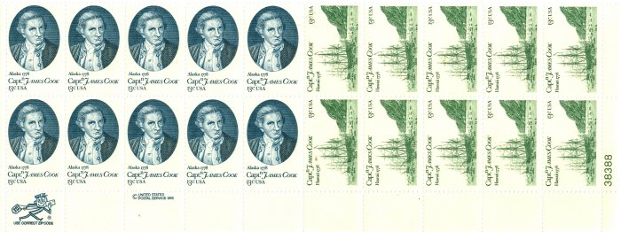 Scott #1732, Scott #1733 Captain James Cook stamp plate block 20 x 13¢