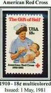 Scott #1910 American Red Cross � The Gift of Self 1881-1981 single stamp 18¢
