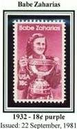 Scott #1932 Babe Zaharias single stamp 18¢