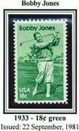 Scott #1933 Bobby Jones � golfer, single stamp 18¢