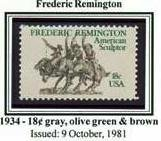 Scott #1934 Frederic Remington � American Sculptor - single stamp 18¢