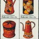 Scott #1778a Folk Art - Pennsylvania Toleware stamp block of 4 x 15¢