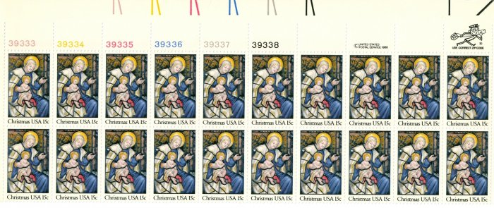 Scott # 1842 Christmas 1980 stamp plate block 20 x 15¢