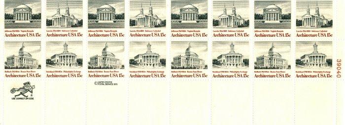 Scott #1779-1782 Architecture 1979 stamp plate block 20 x15¢