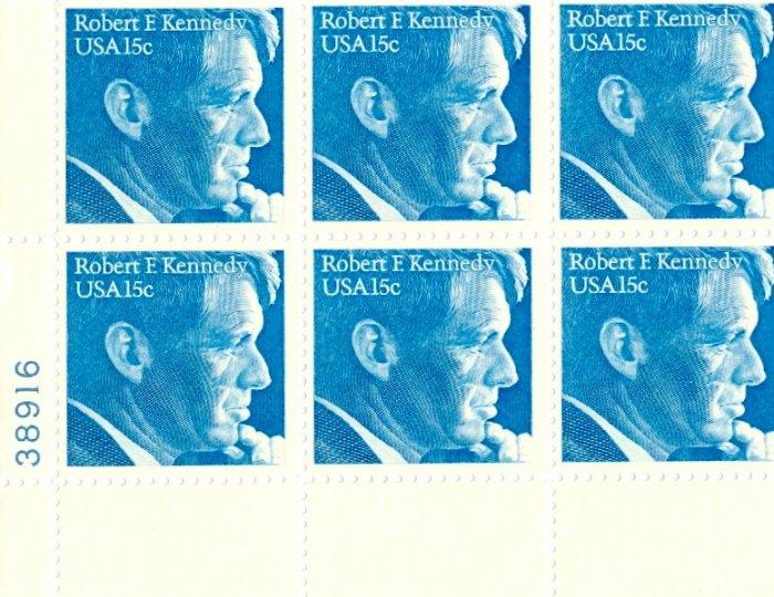 Scott #1770 Robert F. Kennedy 1979 stamp plate block 6 x 15¢