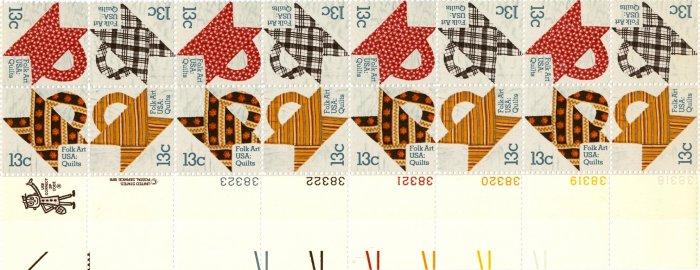 Scott #1745-1748 Quilts � American Folk Art March 1978 stamp plate block 16 x15¢