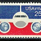 Scott #-89 Plane with Globes – 1976 single AIR MAIL stamp denomination 25¢