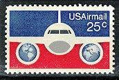 Scott #-89 Plane with Globes � 1976 single AIR MAIL stamp denomination 25¢