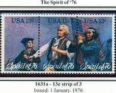Scott #1631a SPIRIT OF �76 strip of 3 stamps denomination: 13¢