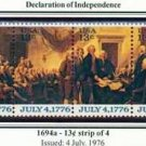 Scott #1694a DECLARATION OF INDEPENDENCE strip of 4 stamps denominations: 13¢