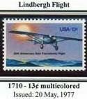 Scott #1740 LINDBERGH FLIGHT � SPIRIT OF ST. LOUIS single stamp denomination: 13¢