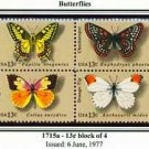 Scott #1715a BUTTERFLIES 1977 block of 4 stamps denominations: 13¢