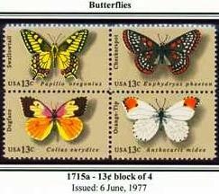 Scott #1715a BUTTERFLIES 1977 block of 4 stamps denominations: 13¢