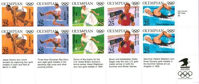 Scott #2500a OLYMPIANS � Summer Olympics 1990 block of 10 stamps denominations: 25¢