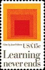 """Scott #1833 AMERICAN EDUCATION - """"Homage to the Square: Glow""""1980 single stamp denomination: 15¢"""