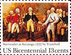 Scott #1728 SURRENDER OF SARATOGA - American Bicentennial 1977 single stamp denomination: 13¢