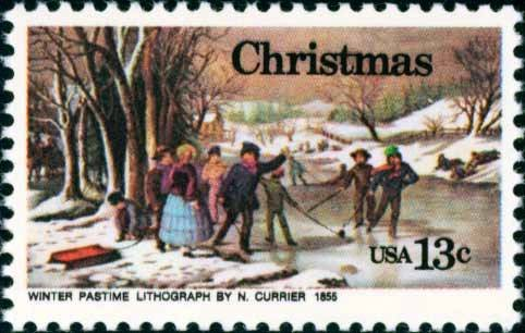 "Scott #1702 CHRISTMAS - ""Winter Pastime"" by Nathaniel Currier 1976 single stamp denomination: 13¢"