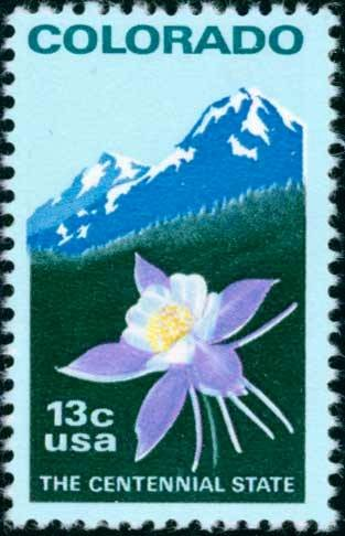 Scott #1711 COLORADO STATEHOOD - Columbine and Rocky Mountains 1977 single stamp denomination: 13¢