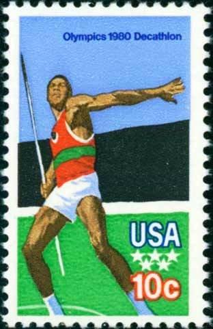 Scott #1790 OLYMPIC GAMES � decathlon - Javelin 1979 single stamp denomination: 10¢