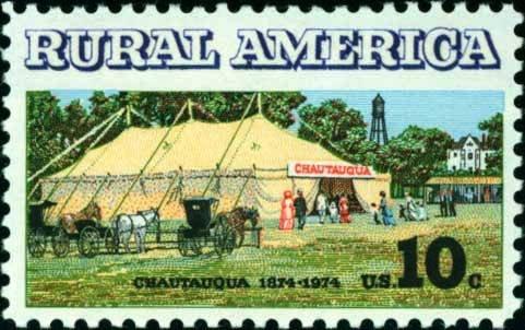Scott #1505 RURAL AMERICA - Chautauqua tent and buggies 1974 single stamp denomination: 10¢