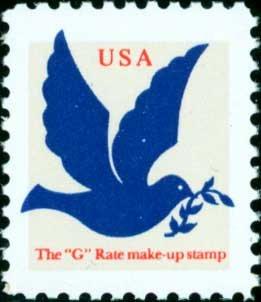 Scott #2877 DOVE G rate make-up - tan, dark blue & red - 1994 single stamp denomination: 3¢