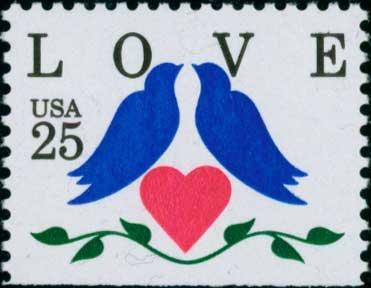 Scott #2441 LOVE. booklet stamp1990 single stamp denomination: 25¢