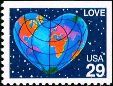 Scott #2536 LOVE - Heart, booklet stamp 1991 single stamp denomination: 29¢
