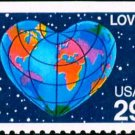 Scott #2536 LOVE - Heart, booklet stamp 1991 single stamp denomination: 29¢