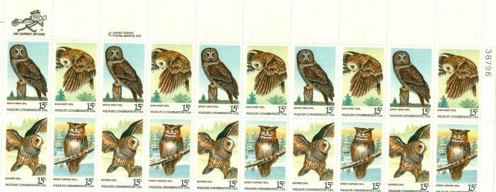 Scott #1763a plate block AMERICAN OWLS 1978 stamp plate block of 20 denomination:15¢