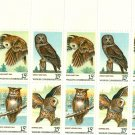 Scott #1763a plate block AMERICAN OWLS 1978 stamp plate block of 20 denomination:15¢