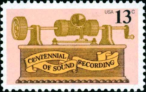 Scott #1705 CENTENNIAL OF SOUND RECORDING 1977 single stamp denomination: 13¢
