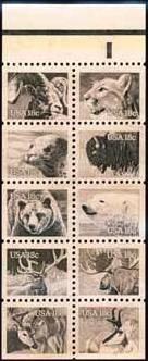 Scott #1889a AMERICAN WILDLIFE 1981 booklet pane of 10 denomination: 18¢