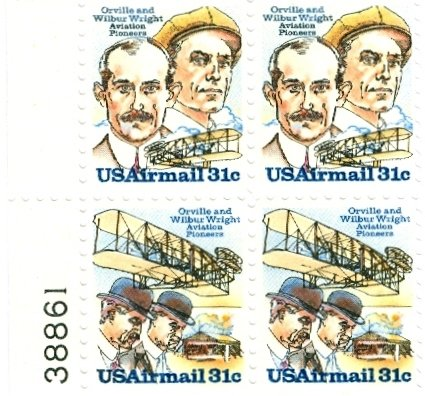 Scott #C91 & Scott #C92 WRIGHT BROTHERS 1978 block of 4 airmail stamps denomination: 31¢