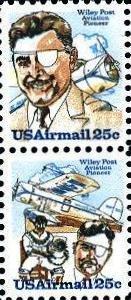 Scott #C95 & Scott #C96 WILEY POST 1979 block of 2 airmail stamps denomination: 25¢
