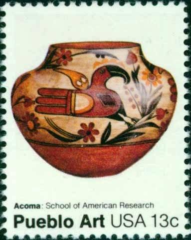 Scott #1709 AMERICAN FOLK ART - Acoma pot 1977 single stamp denomination: 13¢