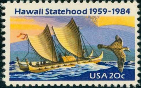 Scott #2080 HAWAII STATEHOOD, 25th ANNIVERSARY 1984 single stamp denomination: 20¢