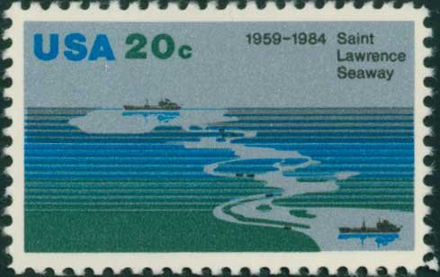 Scott #2091 SAINT LAWRENCE SEAWAY, 25th ANNIVERSARY 1984 single stamp denomination: 20¢