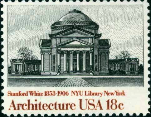 Scott #1928 NEW YORK UNIVERSITY LIBRARY - American Architecture 1981 single stamp denomination: 18¢
