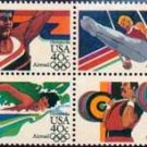 Scott # C108a 1984 SUMMER OLYMPICS block of 4 airmail stamps denomination: 40¢